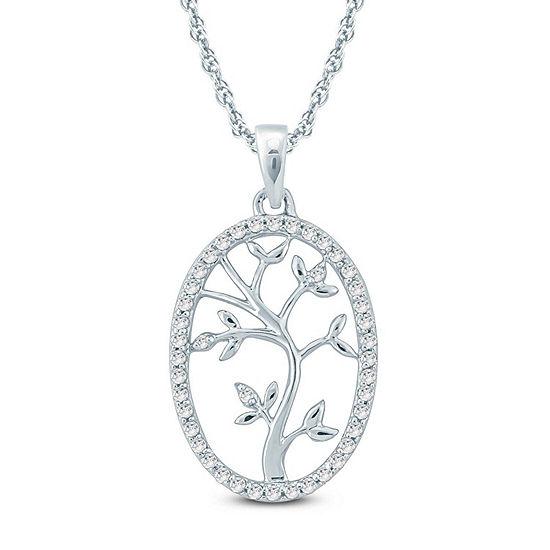 Womens 1/6 CT. T.W. Genuine White Diamond 10K Gold Pendant Necklace