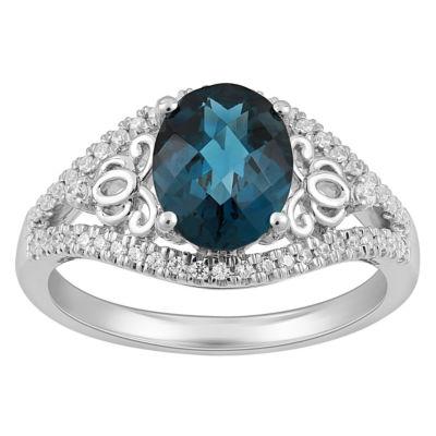 Enchanted Disney Fine Jewelry 1/5 CT. T.W. Diamond & Genuine London Blue Topaz Sterling Silver Ring