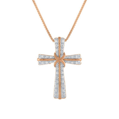 Womens 1/10 CT. T.W. Genuine White Diamond 14K Rose Gold Over Silver Cross Pendant Necklace