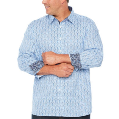 Society Of Threads Society Of Threads Long Sleeve Sport Shirts Long Sleeve Pattern Button-Front Shirt-Big and Tall