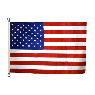 American Flag 12x18 ft. Nylon SolarGuard Nyl-Glo by Annin Flagmakers  100% Made in USA with Sewn Stripes  Embroidered Stars and Roped Heading.  Model2360