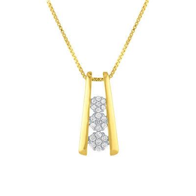 Diamond Blossom Womens 1/10 CT. T.W. Genuine White Diamond 14K Gold Over Silver Pendant Necklace