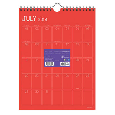 July 2018 - June 2019  Color Collection Monthly Wall Calendar