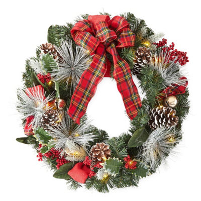 North Pole Trading Co. LED Pinecone Jingle Bell Christmas Wreath