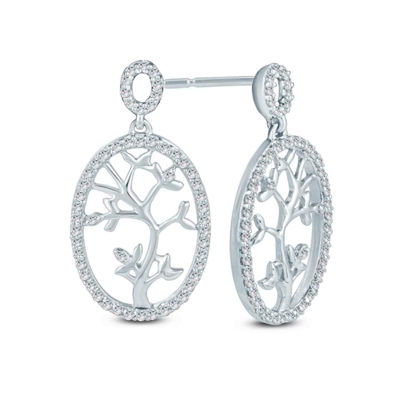 1/6 CT. T.W. White Diamond 10K Gold Drop Earrings