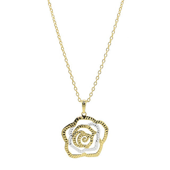 Sechic Womens 14K Gold Flower Pendant Necklace