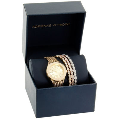 Adrienne Vittadini   Womens Gold Tone Bracelet Watch-Adst2613g679-005