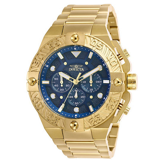 Invicta Mens Chronograph Gold Tone Stainless Steel Bracelet Watch - 25829