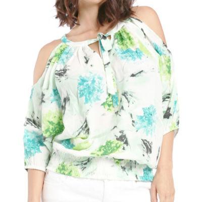 Women Chiffon Woven Ocean BQT Print Blouson Blouse Cut Out Sleeves