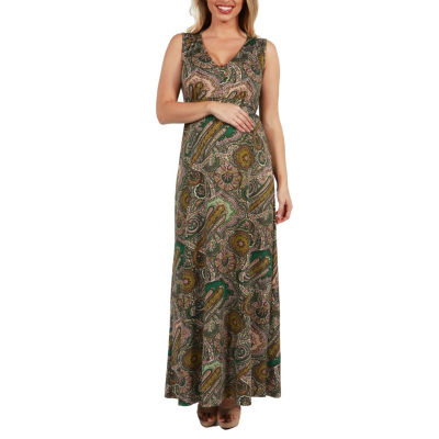 24Seven Comfort Apparel Zooey Empire Waist Maternity Maxi Dress - Plus