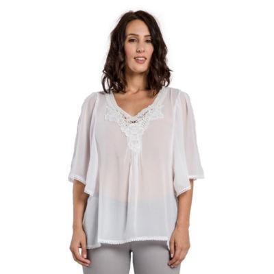 Women White Georgette Woven Tunic Blouses Crochet Neckline Hems