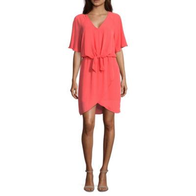 Belle + Sky Elbow Sleeve Stripe Wrap Dress
