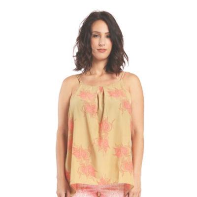 Women Satin Woven Leaf Print Camisole Tops Spaghetti Strap Pleat