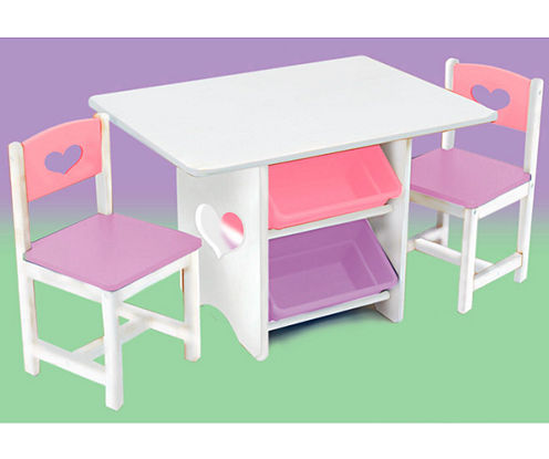 KidKraft® Table and Chairs - White with Pastel Colors