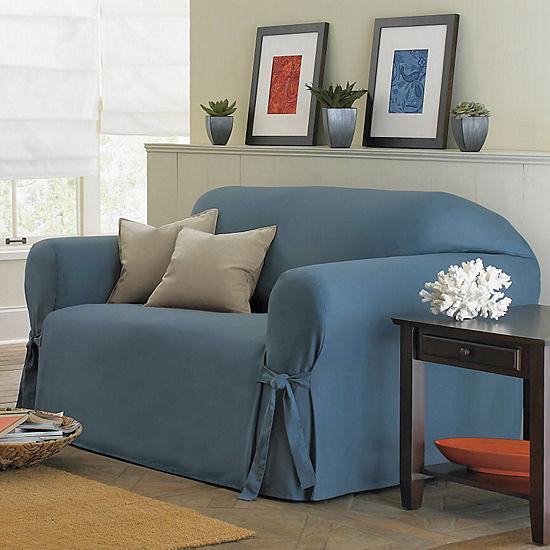 Remarkable Sure Fit Cotton Duck 1 Pc Sofa Slipcover Interior Design Ideas Grebswwsoteloinfo