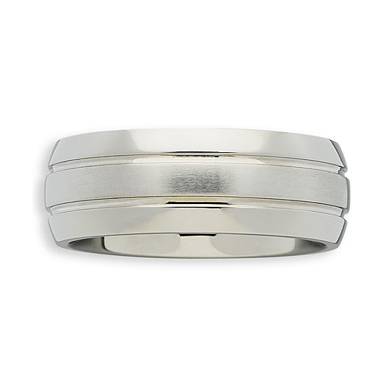 Mens Double-Grooved Titanium Ring