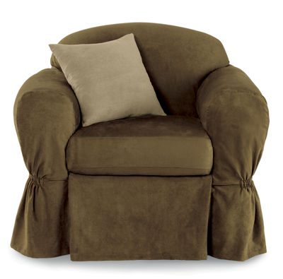 Maytex Smart Cover® Piped Faux Suede Relaxed Fit 2 Piece Chair Furniture Cover Slipcover