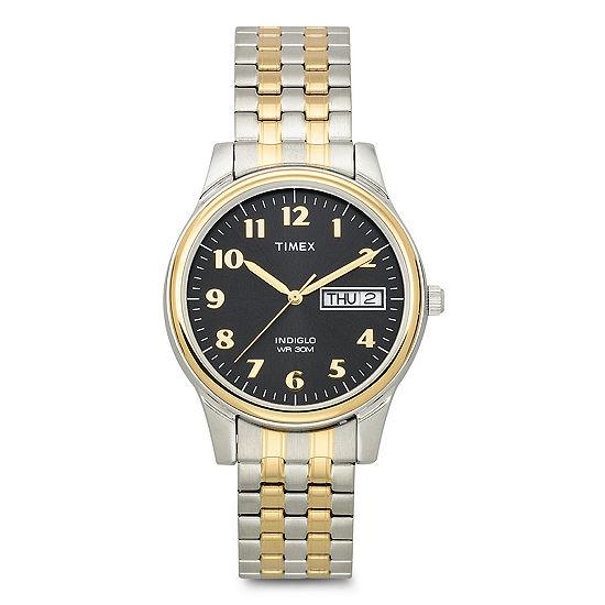 Timex Mens Two Tone Expansion Bracelet Watch
