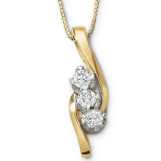 Sirena® ½ CT. T.W. Genuine Diamond 3-Stone Pendant Necklace