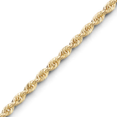 "10K Gold 2.5mm Glitter Rope 24"" Chain"