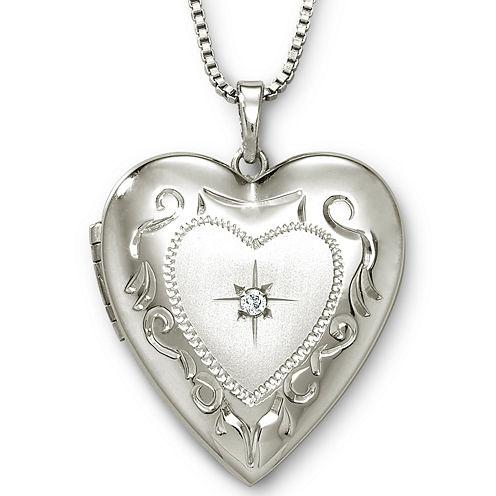 Photo Heart Locket Sterling Silver