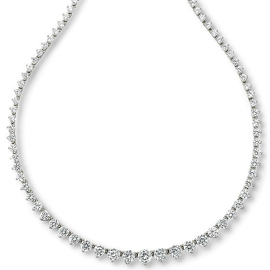 DiamonArt® Sterling Silver 20¾ CT. T.W. Cubic Zirconia Graduated Link Necklace