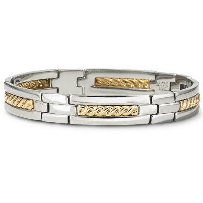 Mens 18K Gold & Steel Bracelet