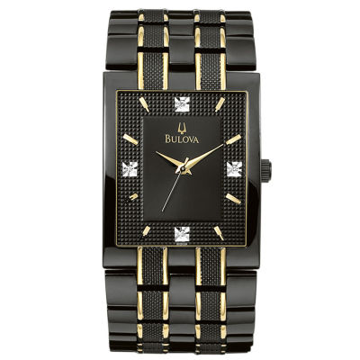 Bulova® Men's Black IP Diamond Accent Watch