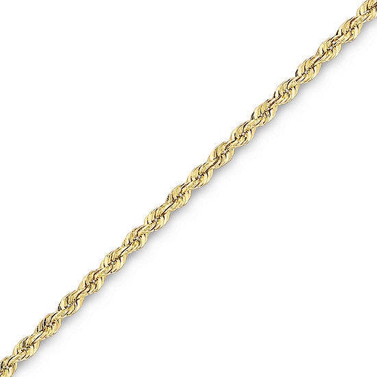 """10K Solid Gold 18-22"""" 1.75mm Glitter Rope Chain"""
