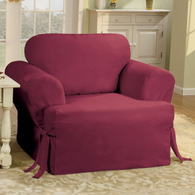 SURE FIT® Cotton Duck T Cushion Chair Slipcover