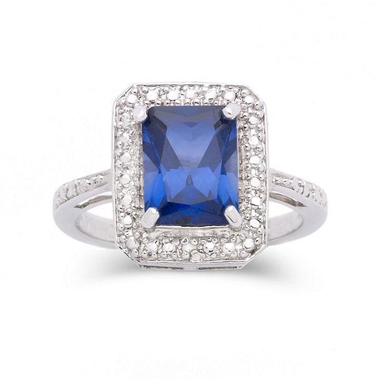Lab-Created Sapphire & Diamond-Accent Ring