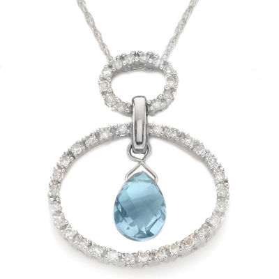 10K Gold Aquamarine & Diamond Circle Pendant