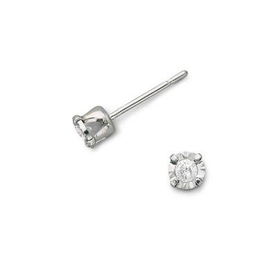 1/8 CT. T.W. Diamond Stud Earrings 10K White Gold