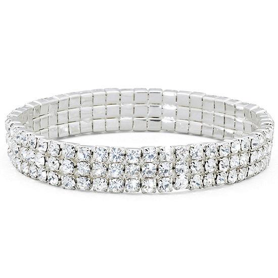 5b8b021f5e Vieste® 3-Row Stretch Rhinestone Bracelet