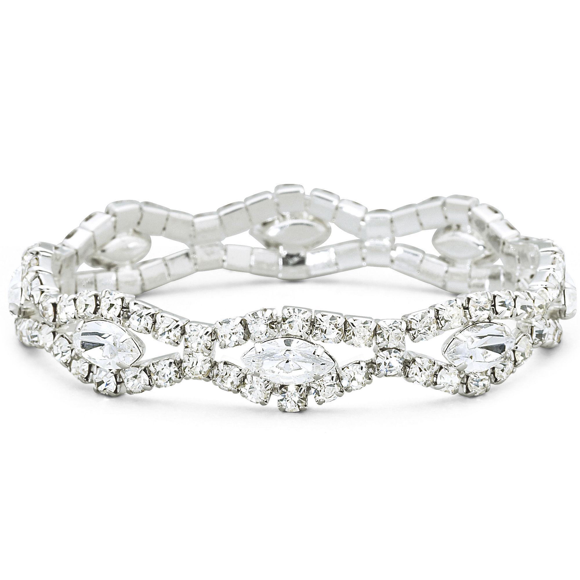 Vieste Rhinestone Silver-Tone Stretch Bracelet
