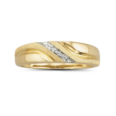 Mens Diamond Accent Band Ring 10K Gold