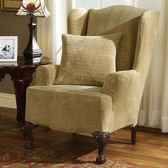 sure p wing slipcover ebay twill fit of home sur stretch simple chocolate s chair
