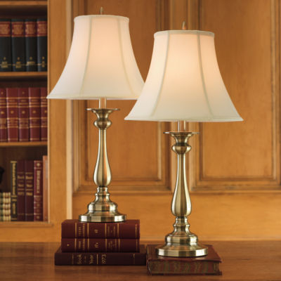 Lovely JCPenney Home™ Set Of 2 Hennessey Antique Brass Table Lamps