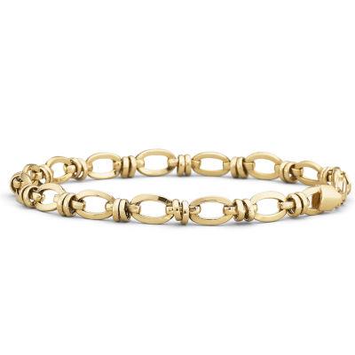 """10K Gold 7.5"""" Hollow Oval-Station Bracelet"""