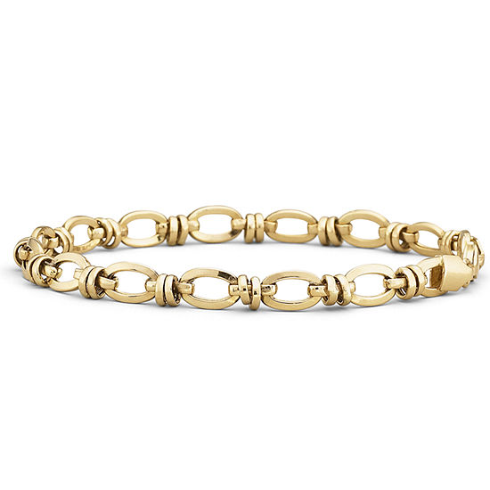 "10K Gold 7.5"" Hollow Oval-Station Bracelet"