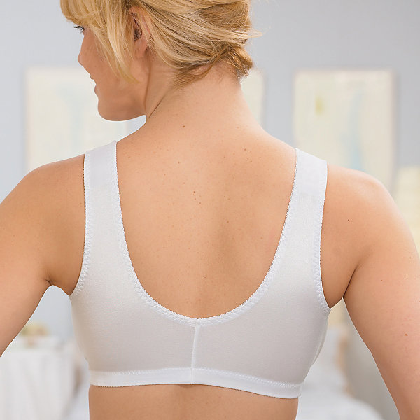 Glamorise Complete Comfort Front-Closure Stretch Cup Wireless Unlined Sleep Full Coverage Bra-1803