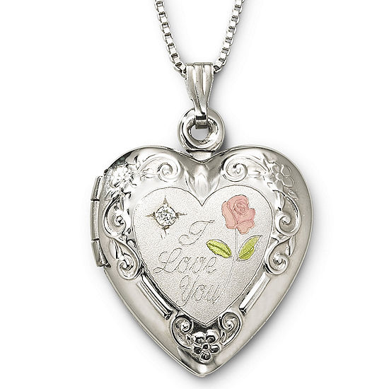 I Love You Sterling Silver Heart Locket Pendant Necklace