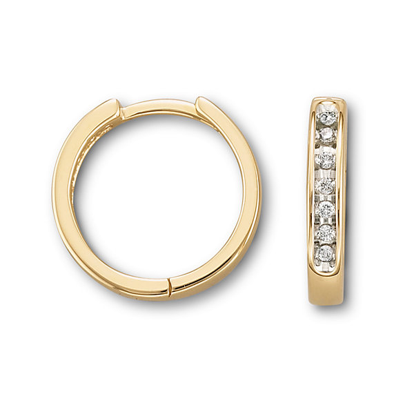 1/6 CT. T.W. Diamond 10K Yellow Gold Hoop Earrings