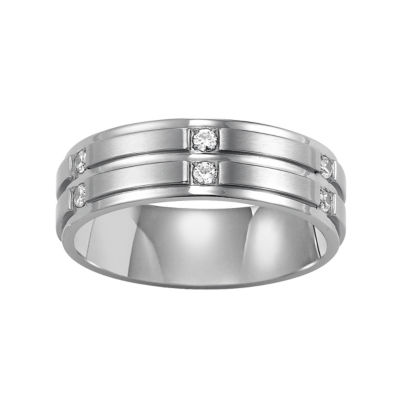 Men's 7mm Diamond Band in Stainless Steel