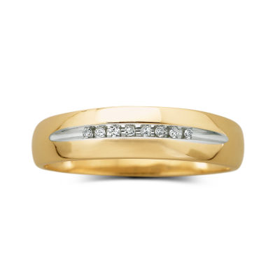 mens 18 ct tw diamond 10k yellow gold wedding band - Jcpenney Mens Wedding Rings