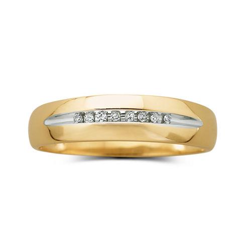 Mens 1/8 CT. T.W. Diamond 10K Yellow Gold Wedding Band