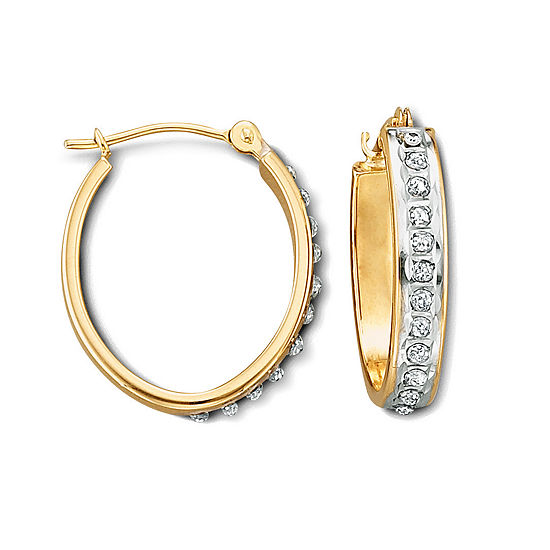 Diamond Accent Genuine White Diamond 14k Gold Hoop Earrings