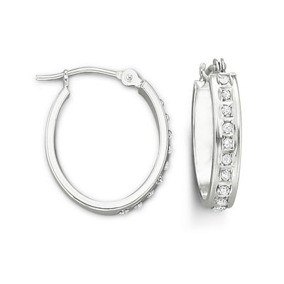 14K Gold Diamond Fascination™ Hoop Earrings