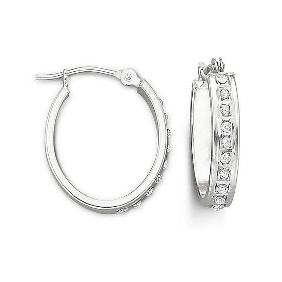 14k Gold Diamond Fascination Hoop Earrings