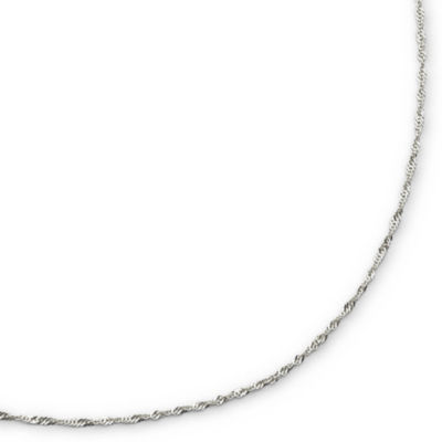 "Made in Italy 14K White Gold 1.2mm 16-20"" Twisted Singapore Chain Necklace"
